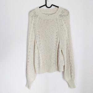 American Eagle Cable-Knit Puff-Sleeve Sweater M